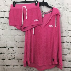 VS Pink terry cloth shorts and hoodie